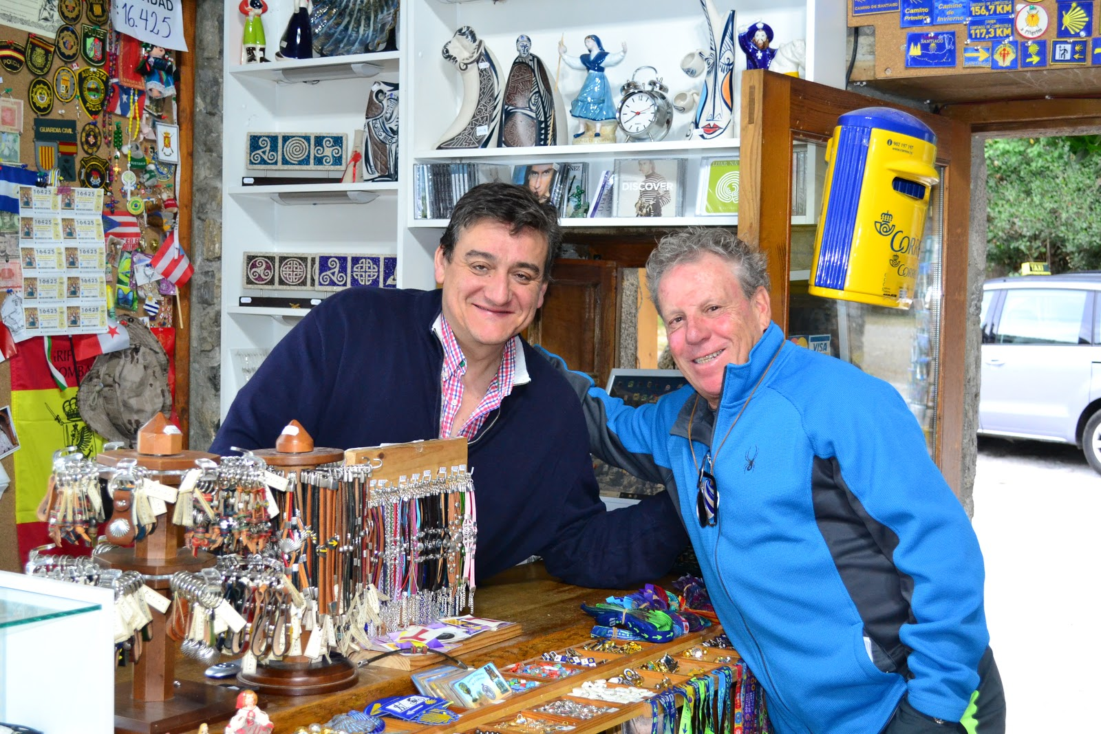 Juan-Carlos with one of many friends along the Camino de Santiago. I loved this little gift shop.