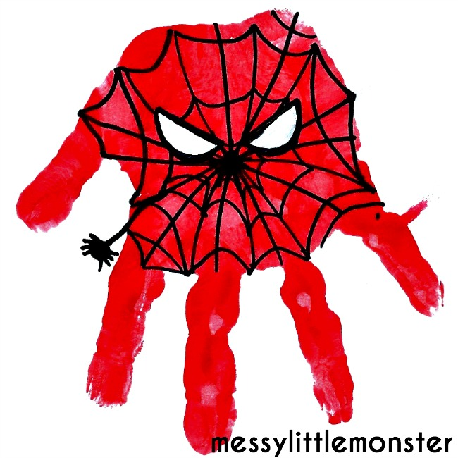 Spiderman Superhero Handprint Craft for kids