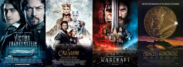 Poster pelicula film Frankestein Blanca Nieves cazador Warcraf Princesa Monoke