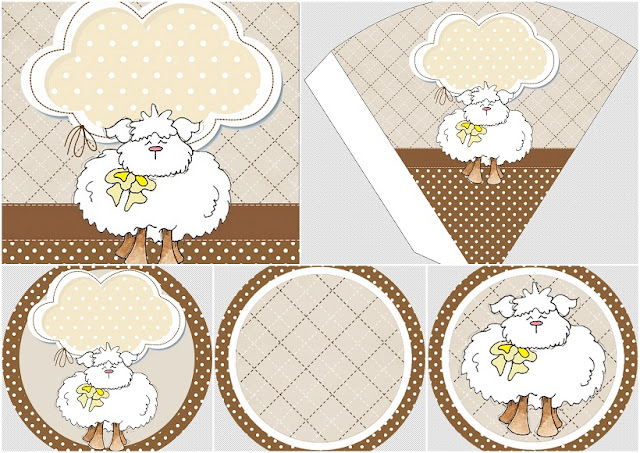 Funny Sheep in Brown and Pink: Free Printable Mini Kit.