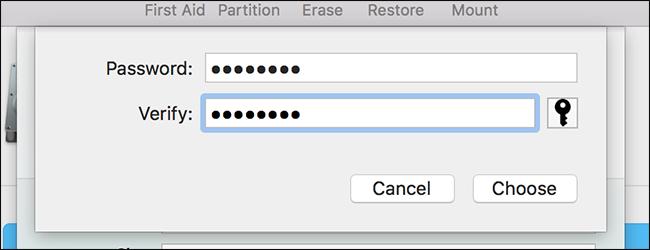 creare una password di crittografia per l'immagine del disco