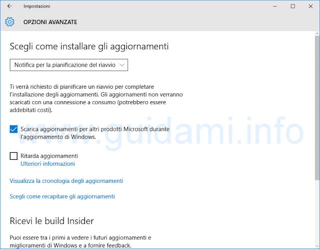 Opzioni avanzate Windows Update Windows 10