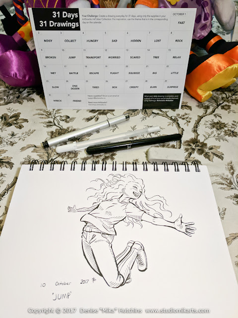Completely inked drawing for Inktober day 10.