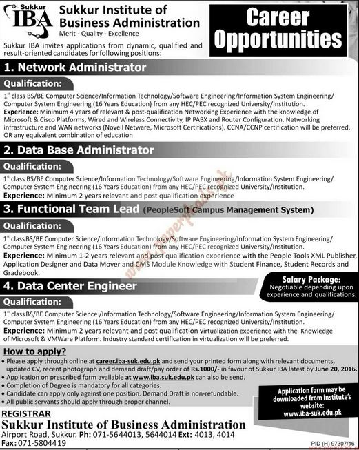 GOVT JOBS, 2016, Sukkur, Sindh, Jang, Express, The News, Latest Jobs in Sukkur Institute of Business Administration, Network Administrator, Data Base Administrator, Data Centre Engineer, jobs in sukkur, iba jobs in sukkur, iba jobs, latest jobs in sindh,