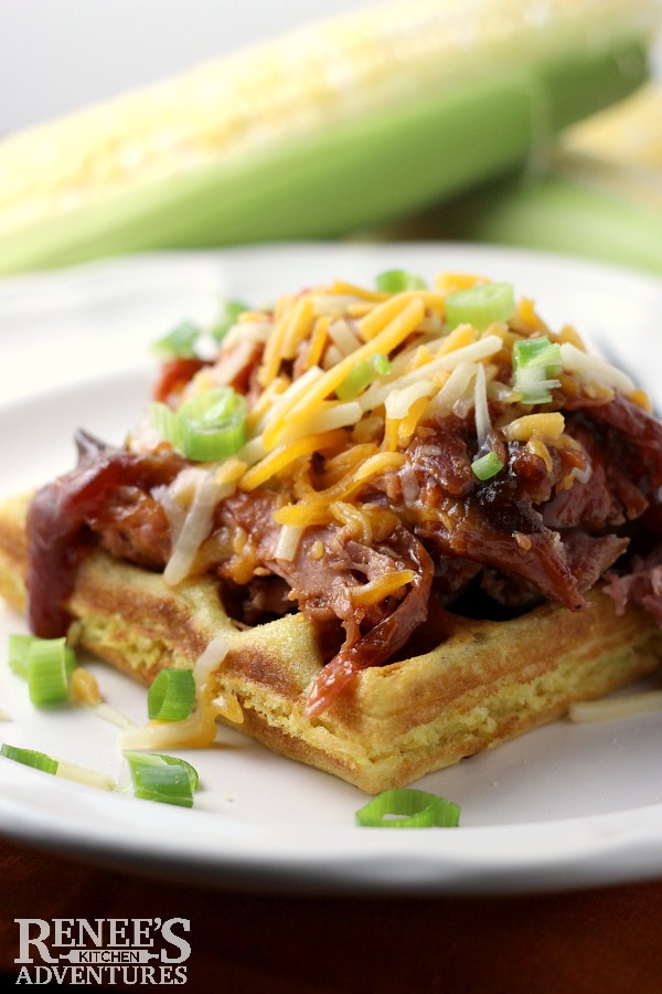 Cornbread Waffles with Pulled Pork | by Renee's Kitchen Adventures is an easy recipe for cornbread waffles topped with store-bought pulled pork for a fun and easy dinner idea!
