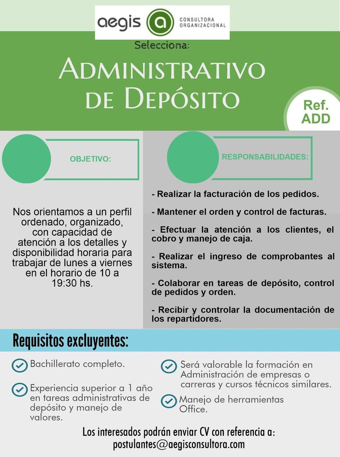 Administrativo de Depósito - Julio 2016 - Trabajo Rrhh Uruguay