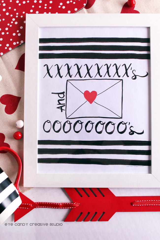 black & white valentines art, red heart, hand lettering, XO, valentines
