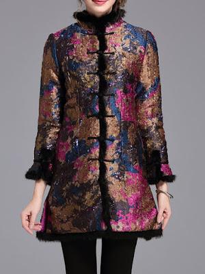 KK2 A-line Vintage Floral-print Long Sleeve Coat