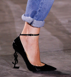 YSL Logo Heel Ankle Strap Pointed Pumps Fashion Week Spring 17