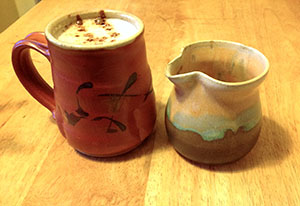 Mug by Cynthia Bringle, Cream Pitcher by Lori Buff