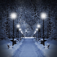 Sun and Moon Equal Divine Balanced Opposites 10769499-winter-park-in-the-evening-covered-with-snow-with-a-row-of-lamps