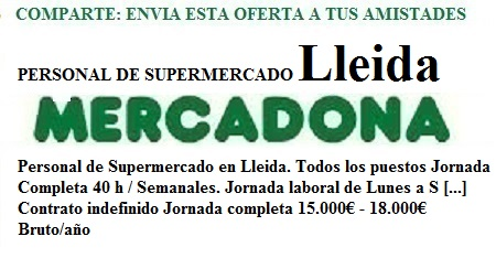 Lleida. Lanzadera de Empleo Virtual. Oferta Mercadona