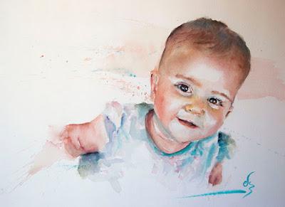 Retrato en acuarela de niña en tonos azules
