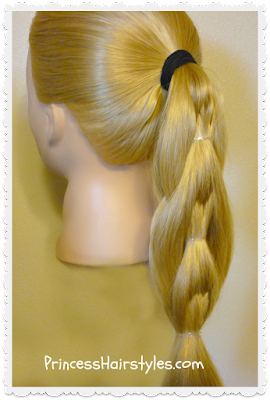 Quilted pull-through ponytail, side view.