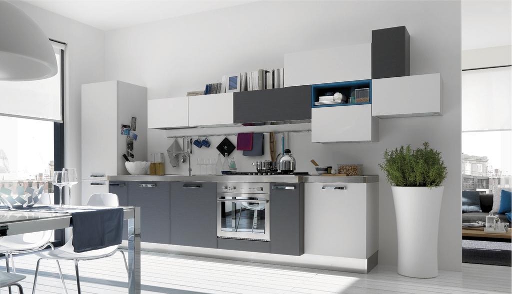 cuisine design blanche et grise. Black Bedroom Furniture Sets. Home Design Ideas