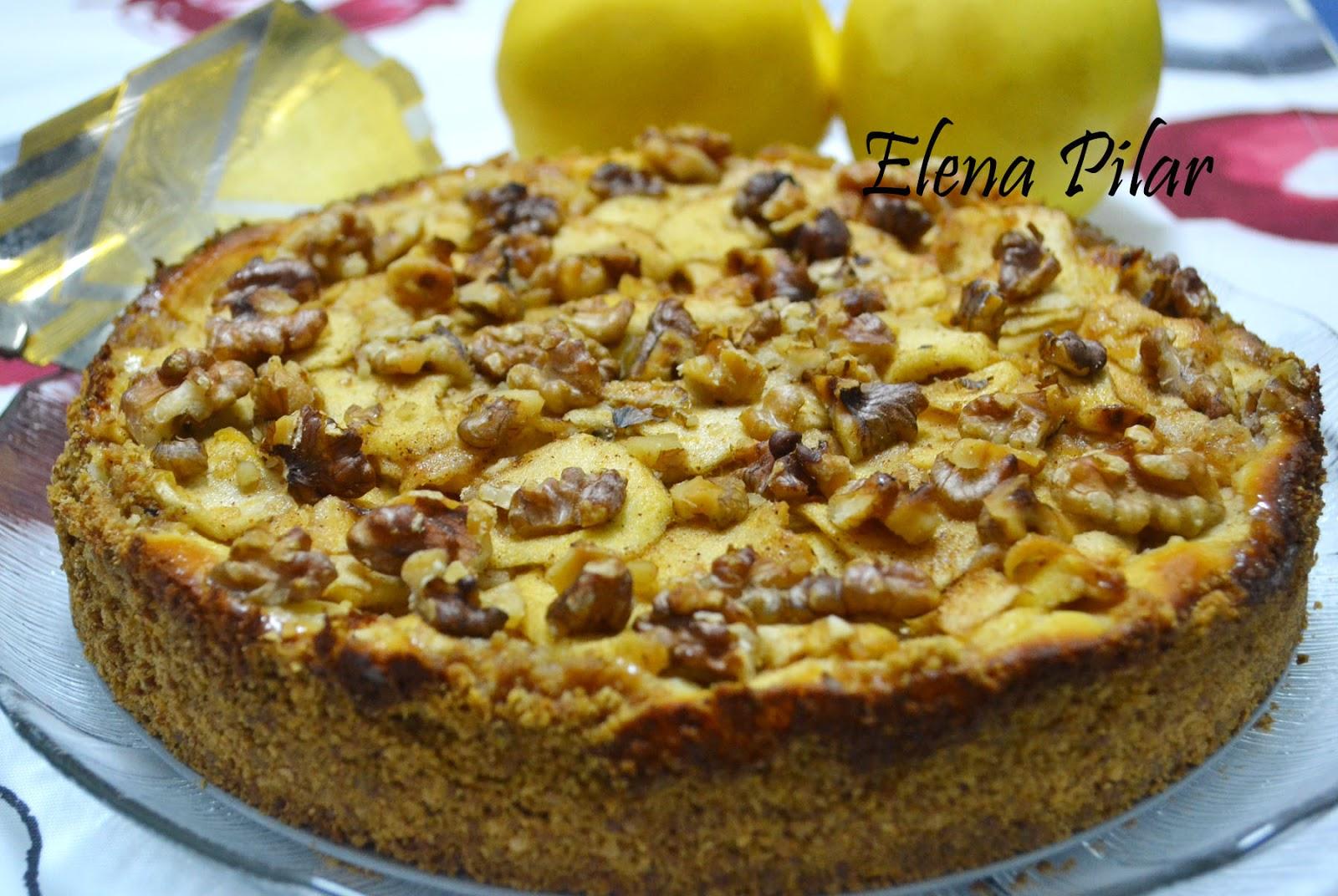 mi recetario por elena pilar tarta de queso con manzana nueces y