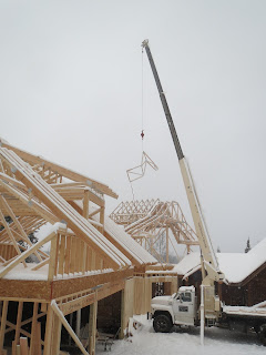 crane, frame trusses, lake home, ely mn