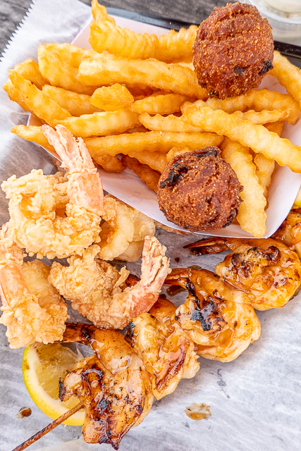 grilled and fried shrimp with fries