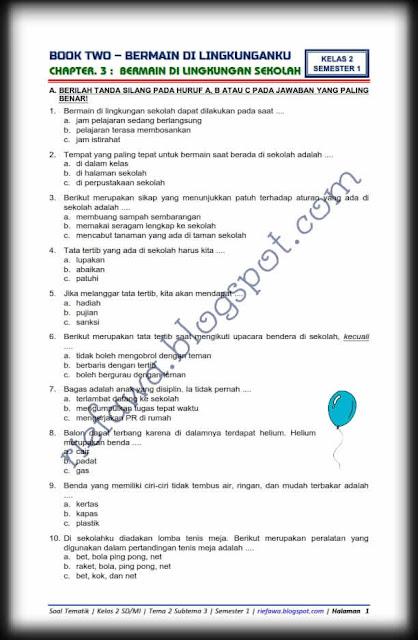 Soal Kelas 2 Tema 2 Subtema 3 edisi Terbaru Tahun 2018