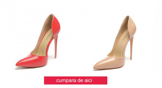 Pantofi eleganti decupati ieftini bej, rosii de zi sau de ocazii