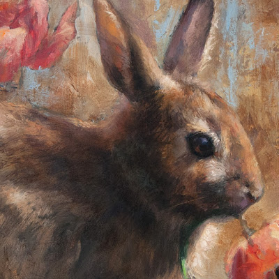 painting detail Eastern Cottontail Rabbit artist Shannon Reynolds