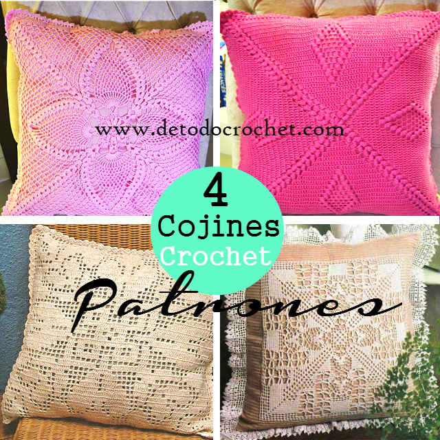 4 pillow crochet patterns for free download