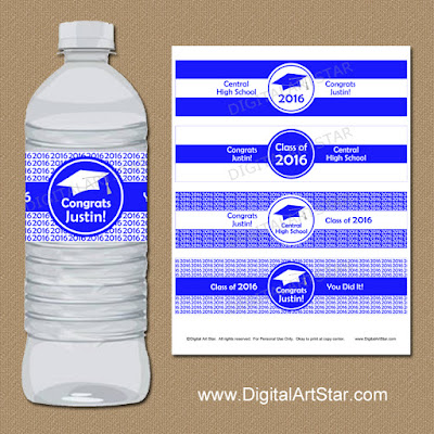 printable royal blue and white personalized graduation water bottle labels