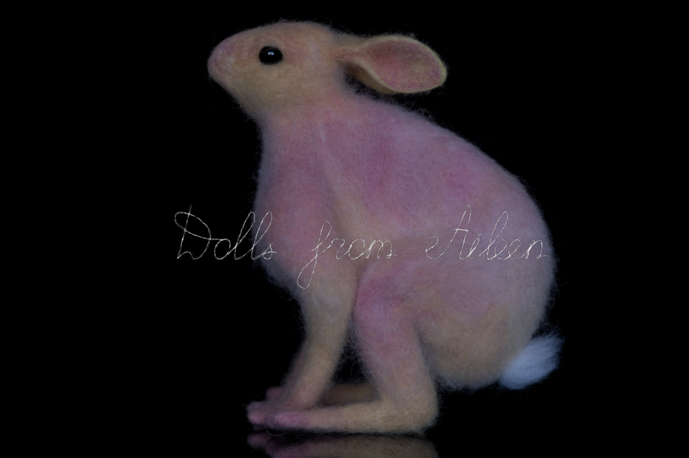 ooak needle felted woolen hare, view from side