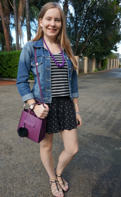 rainy day SAHM style monochrome outfit with denim jacket and purple accessories | away from blue