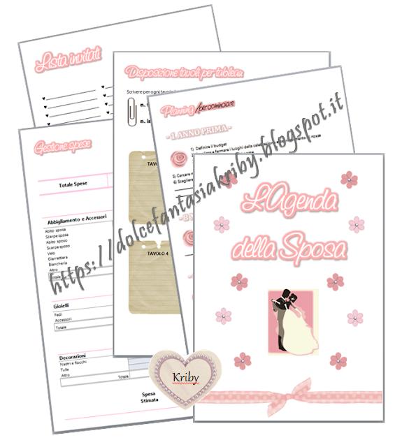 agenda della sposa, agenda della testimone, agenda della damigella con contenuti e grafica interamente personalizzabili