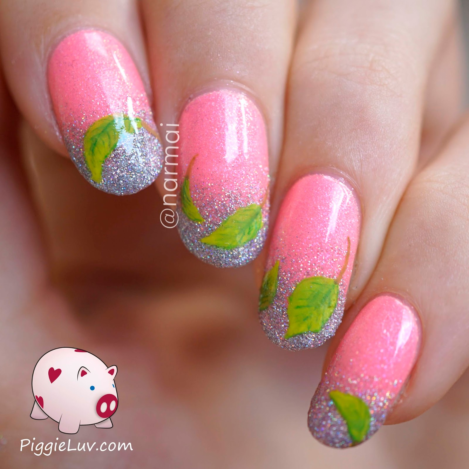 Spring Nail Art: PiggieLuv: Freehand Spring Leaves Nail Art