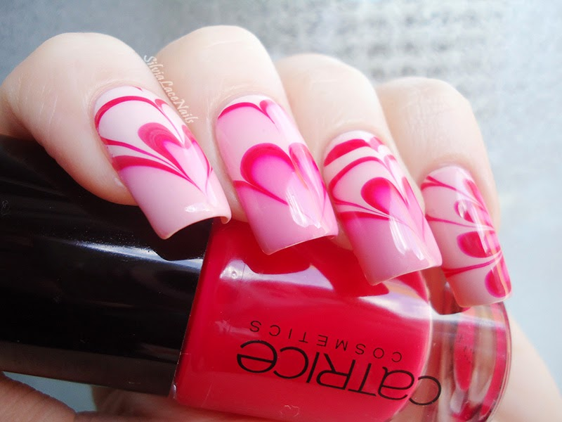 Valentine's Day water marble hearts