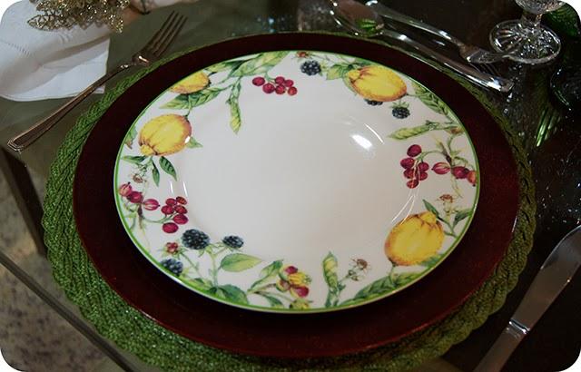 Mesa : Ceia de Natal - Decoração para o Jantar Aparelho de Jantar e Café limão siciliano