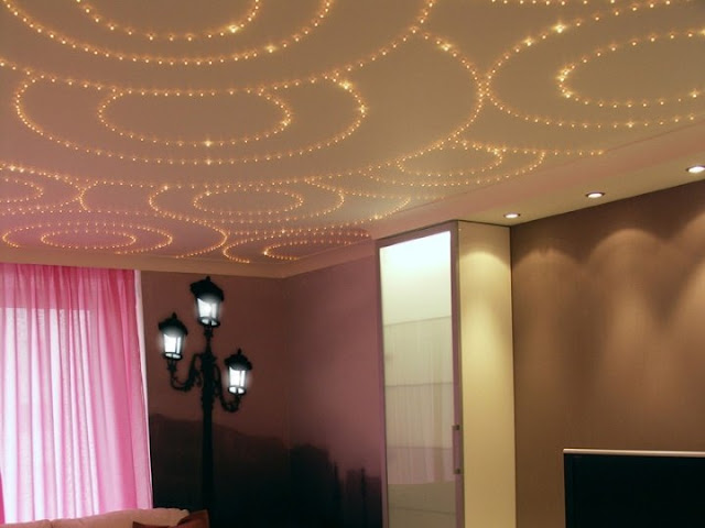 stretch ceiling lighting with Fiber optics