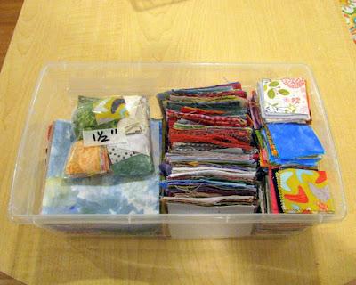 quilt scraps in container