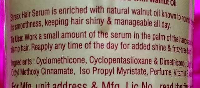 Streax Hair Serum Vitalized with Walnut Oil Review