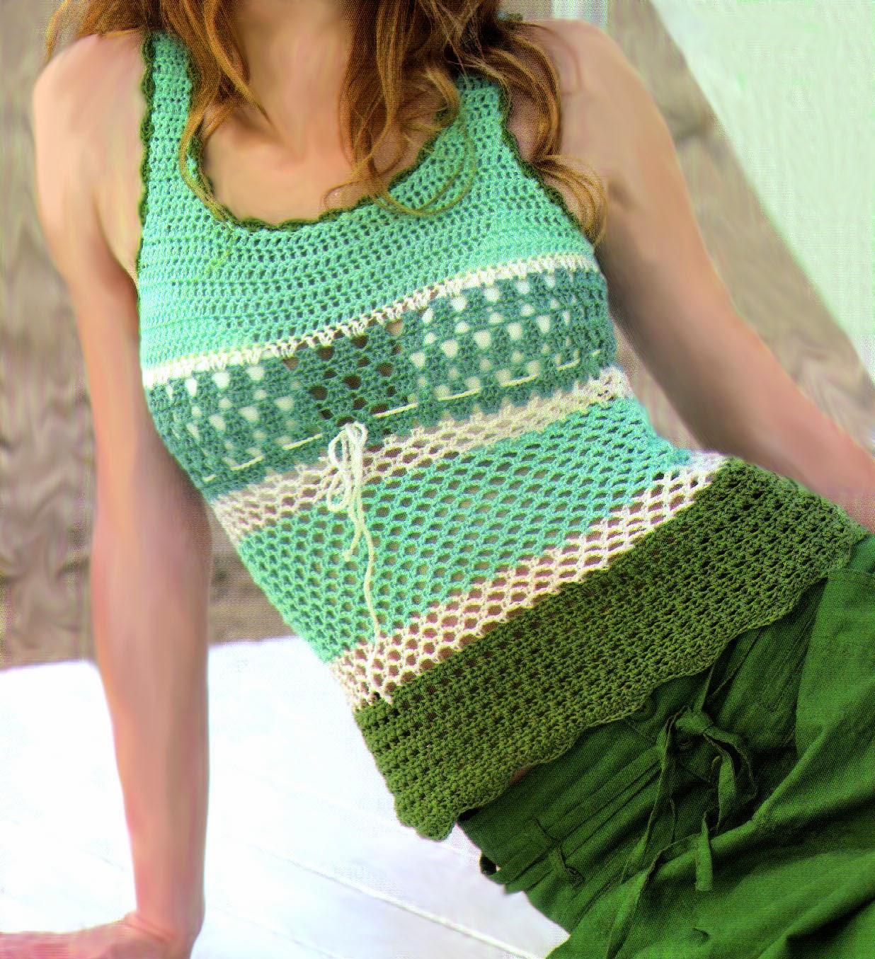 tejidos artesanales en crochet musculosa combinada tejida. Black Bedroom Furniture Sets. Home Design Ideas