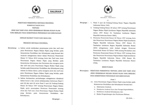 PP Nomor 82 Tahun 2016 tentang Jenis dan Tarif atas Jenis Penerimaan Negara Bukan Pajak yang Berlaku pada Kementerian Pendidikan dan Kebudayaan