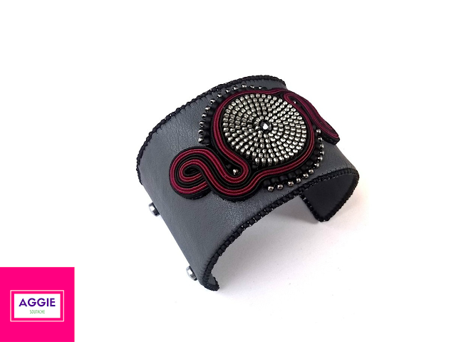 soutache and zipper cuff bracelet