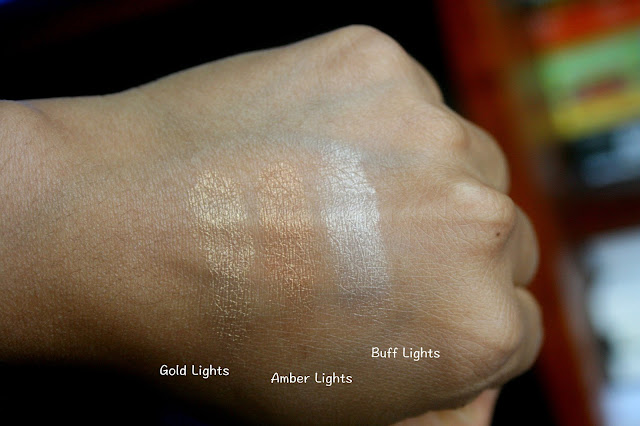 Lancome Glow Subtil Silky Cream Highlighter Gold Lights, Amber Lights, Buff Lights Swatches