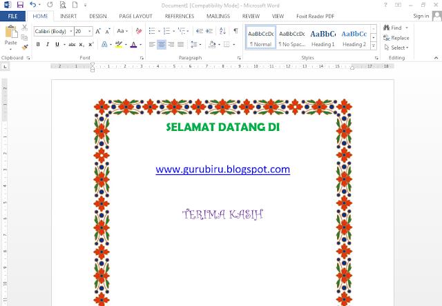 download page boerder cantik untuk ms word