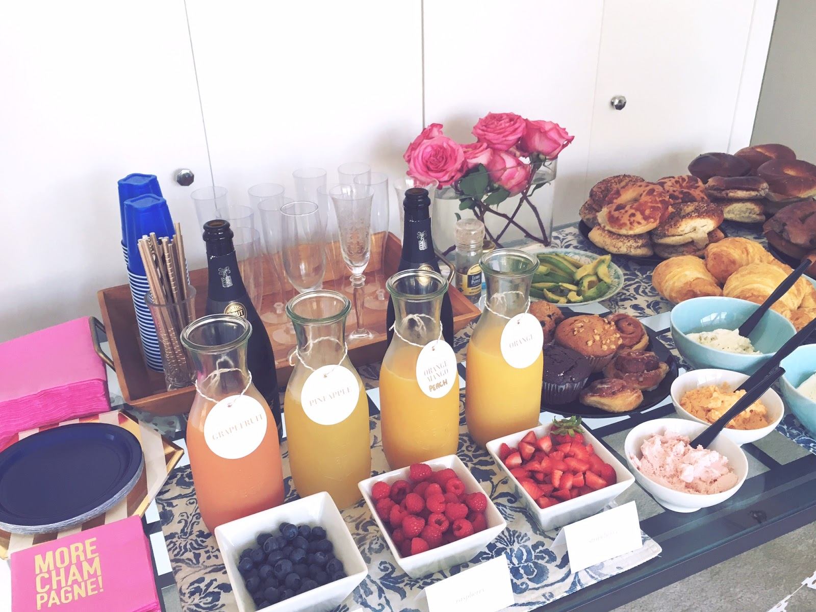 At home display of mimosas and bagels