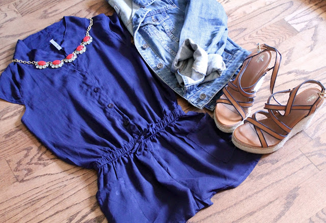 navy romper, denim jacket, wedges, red necklace