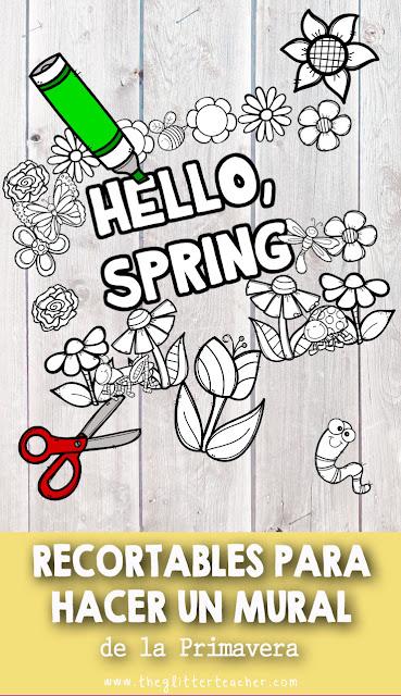 Dibujos recortables de flores, bichitos y letras para hacer un mural temático de la primavera en el aula
