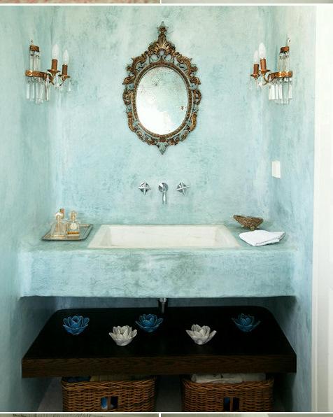 decoracao lavabo rustico : decoracao lavabo rustico:Construção com paredes bem rústicas, a bancada também em cimento