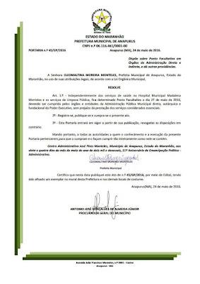 Prefeitura de Anapurus decreta ponto facultativo dia 27 de maio