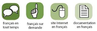 Légende des services en français. Français en tout temps, français sur demande, site Internet en français, documentation en français