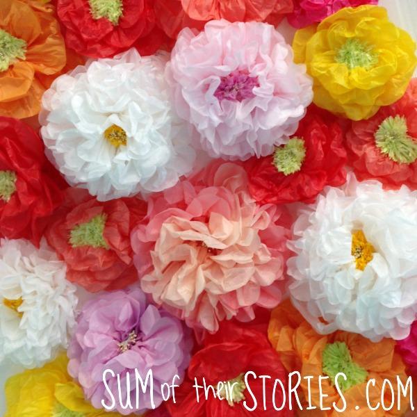 paper flower selfie wall