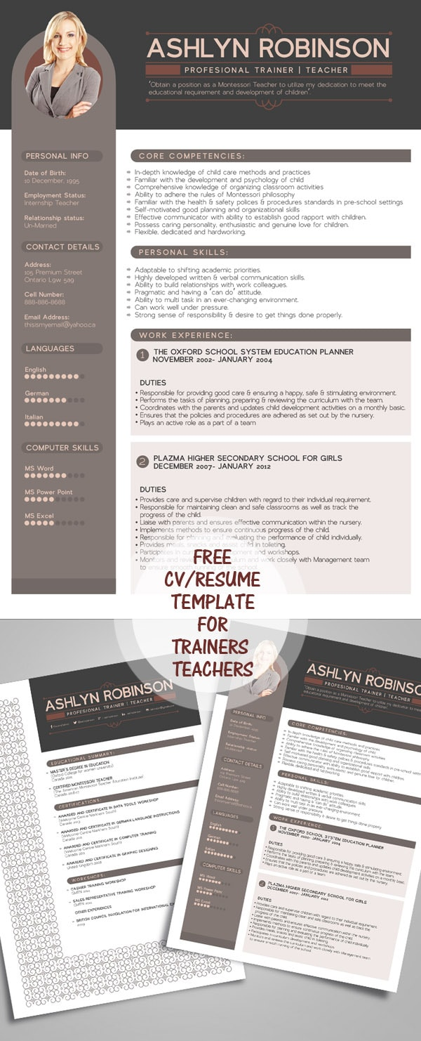 Template Resume / CV Terbaru 2017 - Free Resume – CV Design Template for Trainers & Teachers